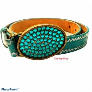 Solid Brass Mint Rhinestone Etched Leather Belt